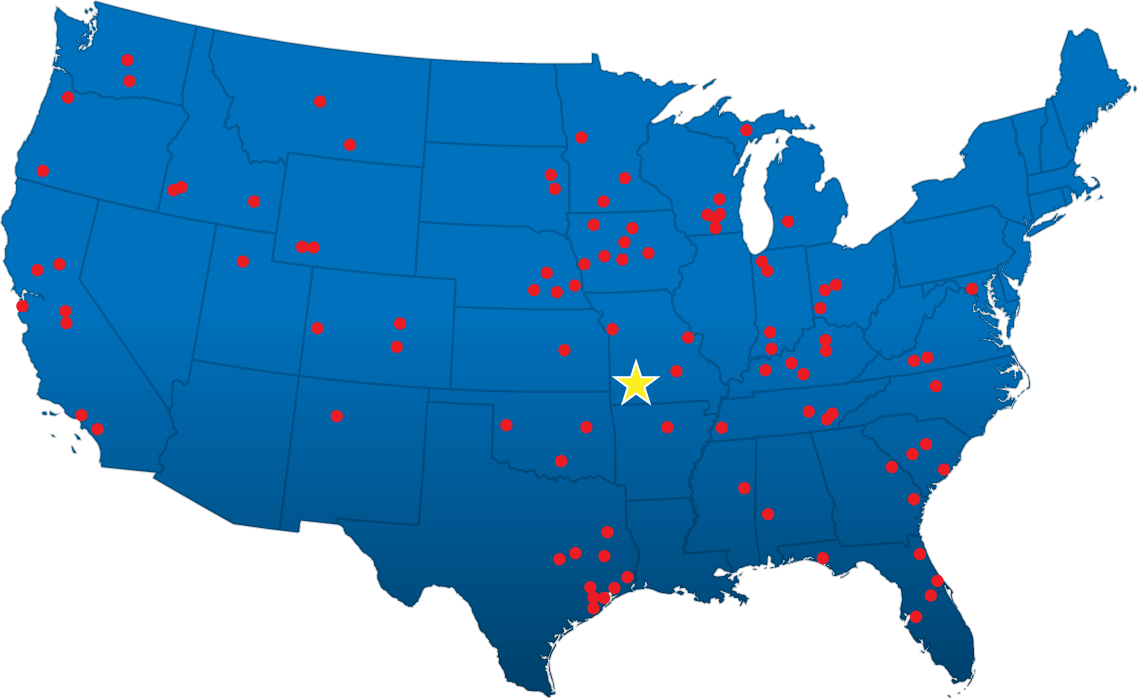 Graphical map representation of Gilbert Industries US locations
